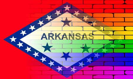 transexual: Una pared pintada bien nacido con un arco iris de LGBT con la bandera del estado de Arkansas