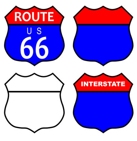 main street: Route 66 traffic sign with template and interstate sign over white