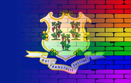 transexual: Una pared pintada bien nacido con un arco iris de LGBT con la bandera del estado de Connecticut Vectores