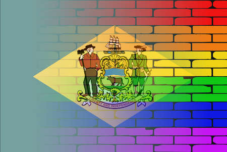 transsexual: A well worn wall painted with a LGBT rainbow with the Delaware state flag Illustration