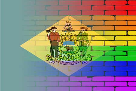 transexual: Una pared pintada bien nacido con un arco iris de LGBT con la bandera del estado de Delaware