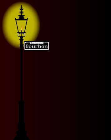 rue: New Orleons street sign of Rue Bourbon with old gas street light over a dark background