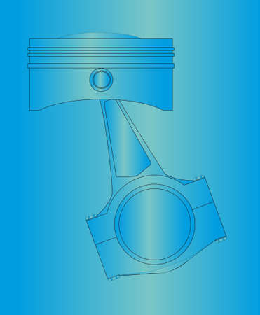 spare part: A piston from a petrol or diesel engine with the conecting rod in place. over a blueprint style background