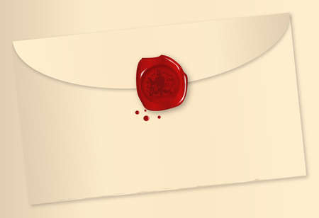 royal mail: A wax sealed envelope over a beige background
