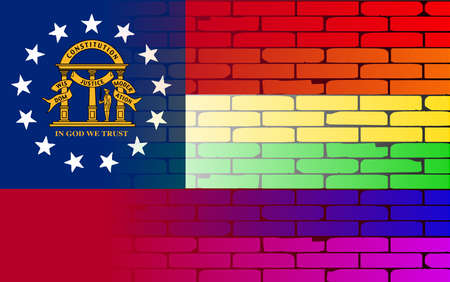 transsexual: A well worn wall painted with a LGBT rainbow with the Georgia state flag Illustration