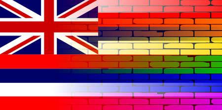 transexual: Una pared pintada bien nacido con un arco iris de LGBT con la bandera del estado de Hawaii Vectores