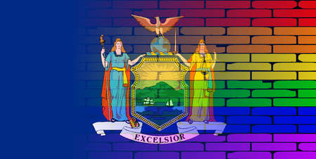 new york state: A well worn wall painted with a LGBT rainbow with the New York state flag Illustration