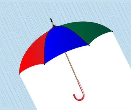 brolly: A colorful umbrella over a raining bakground Illustration