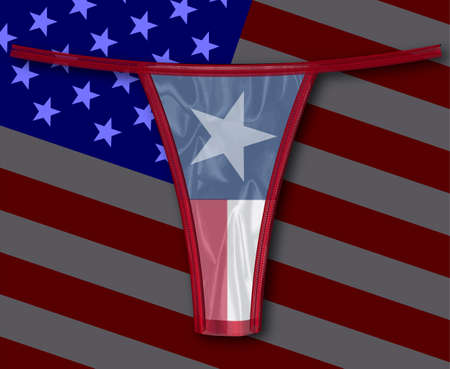 knickers: A thong with the Texan flag all over a faded stars and stripes background