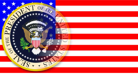 A depiction of the seal of the president of the United States of America set over  a Stars and Stripes flag Illustration