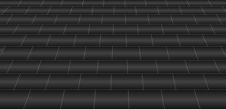 vanishing point: A black glazed tile floor style background Illustration