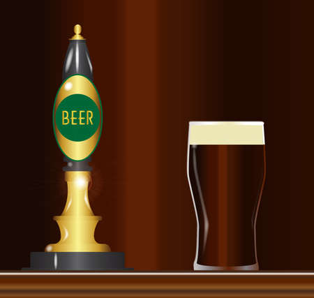 lite: A traditional and typical beer pumps with beer sign and a full ping glass Illustration