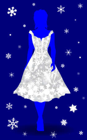 snow queen: Silhouette of a girl snow queen in a dress made from snowflakes