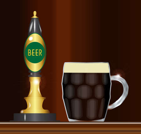 pint: A traditional and typical beer pumps with sign and a full pint glass Illustration
