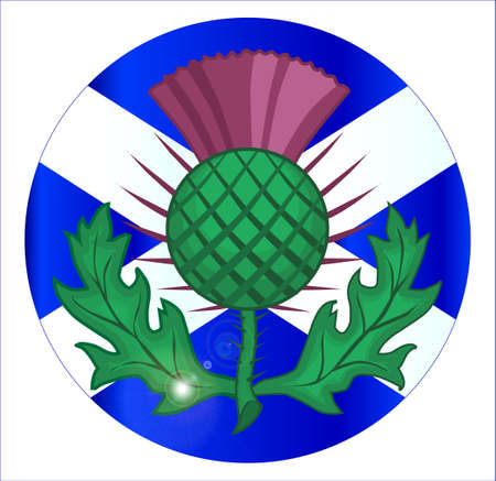 The official flag for Scotland as a button or badge with a traditional thistle icon