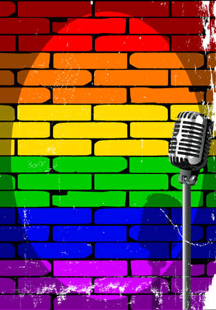 A microphone ready on stage against an LGBT brick wall with grunge