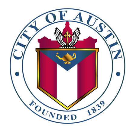 texan: The seal of the Texan city of Austin over a white background