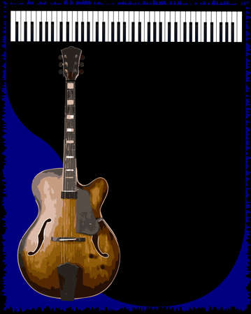 blues music: A guitar and piano blues music style background for a poster
