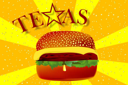 sesame seed: A large cheese burger in a sesame bun with rays of exploding sesame seads and the text TEXAS with the lone star