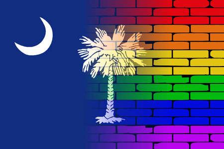 transsexual: Una pared pintada bien nacido con un arco iris de LGBT con la bandera del estado de Carolina del Sur
