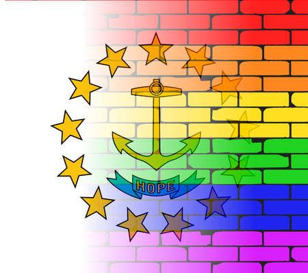 transsexual: Una pared pintada bien nacido con un arco iris de LGBT con la bandera del estado de Rhode Island