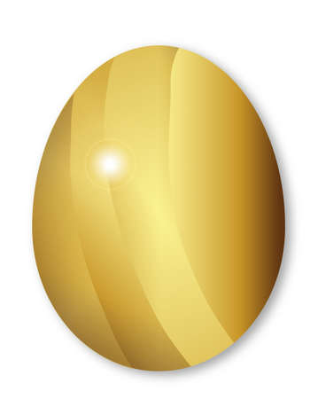 rebirth: A  golden easter egg isolated on a white background