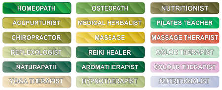 alternative therapy: A collection of alternative therapy buttons on a white background
