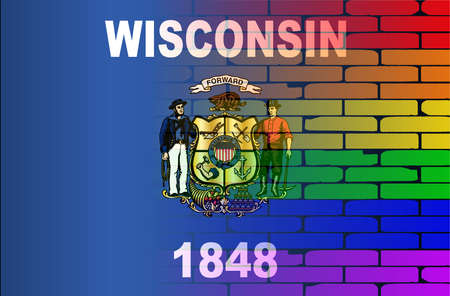 wisconsin flag: A well worn wall painted with a LGBT rainbow with the Wisconsin state flag