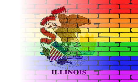 transexual: Una pared pintada bien nacido con un arco iris de LGBT con la bandera del estado de Illinois