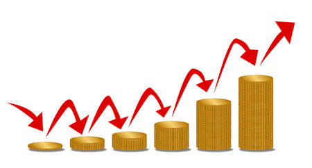 bust up: Piles of coins increasing in size with arrows indicating inflation or rising succe financialy Illustration
