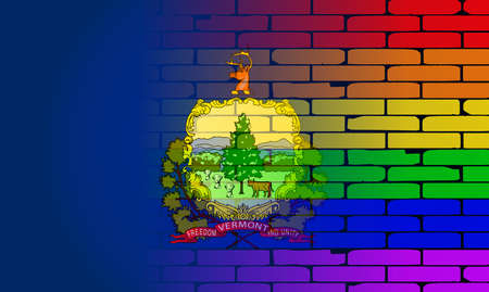 transsexual: A well worn wall painted with a LGBT rainbow with the Vermont state flag
