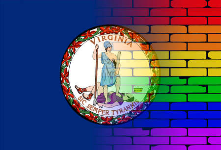 transsexual: A well worn wall painted with a LGBT rainbow with the Virginia state flag