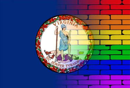 transexual: Una pared pintada bien nacido con un arco iris de LGBT con la bandera del estado de Virginia