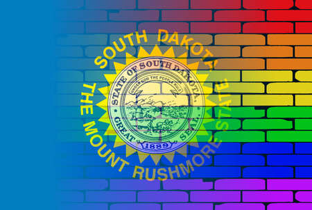 transsexual: A well worn wall painted with a LGBT rainbow with the Iowa state flag