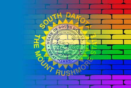 transexual: Una pared pintada bien nacido con un arco iris de LGBT con la bandera del estado de Iowa Vectores