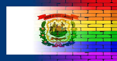transexual: Una pared pintada bien nacido con un arco iris de LGBT con la bandera del estado de Virginia Occidental Vectores