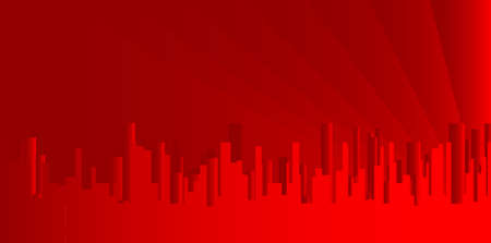 A red cityscape shown in grey and silhouette.