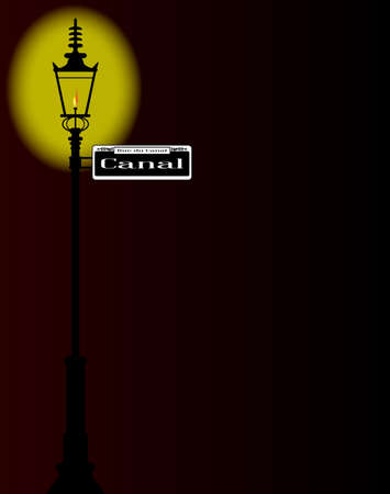 dark street: New Orleons street sign of Rue du Canal  with old gas street light over a dark background Illustration