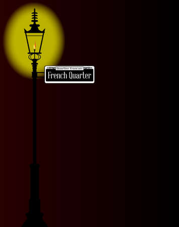 french quarter: New Orleons street sign of French Quarter  with old gas street light over a dark background Illustration