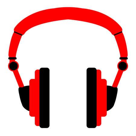earbud: A pair of red audio headphones over a white background