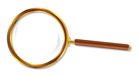 detecting: A metal and wood magniying glass over a white background Illustration