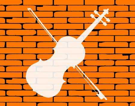 fiddle: A well worn wall painted with a country fiddle in white