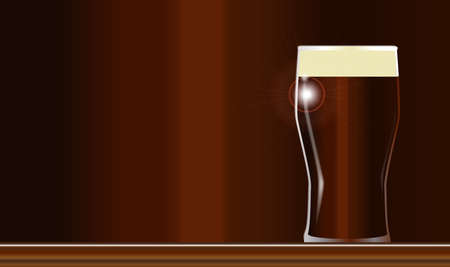 ale: A traditional pint of English ale on a wooden bar Illustration