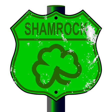 spoof: Spoof Shamrock Route 66 traffic sign over a white background Illustration
