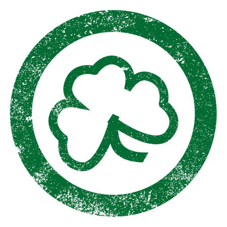 eire: The lucky Irish Shamrock as a rubber ink stamp impression