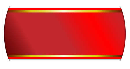 slits: A red and gold satin ribbon passing through slits in a white background Illustration