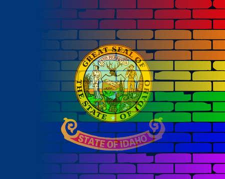 transexual: Una pared pintada bien nacido con un arco iris de LGBT con la bandera del estado de Idaho Vectores