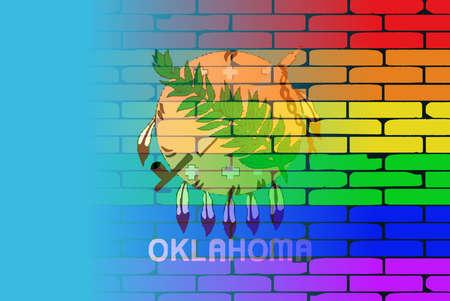 transexual: Una pared pintada bien nacido con un arco iris de LGBT con la bandera del estado de Oklahoma