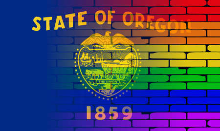 transsexual: A well worn wall painted with a LGBT rainbow with the Oregon state flag