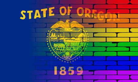 transexual: Una pared pintada bien nacido con un arco iris de LGBT con la bandera del estado de Oregon